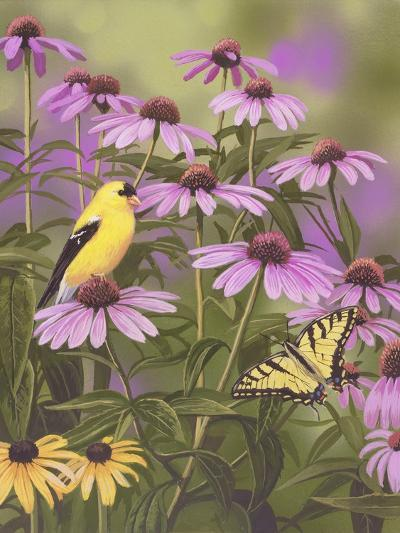 Butterfly and Finch Amongst Flowers-William Vanderdasson-Giclee Print