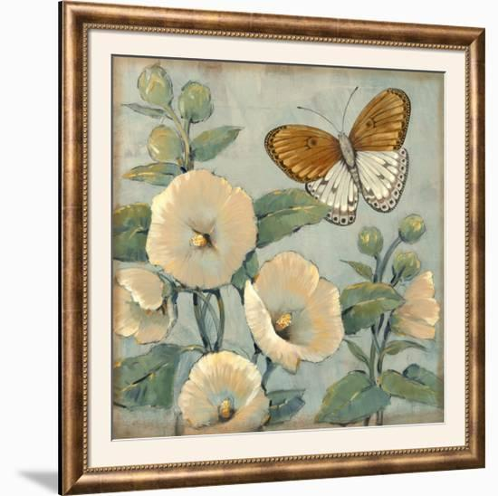 Butterfly and Hollyhocks I-Tim O'toole-Framed Photographic Print