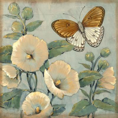 Butterfly and Hollyhocks I-Tim O'toole-Art Print