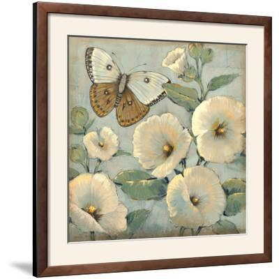 Butterfly and Hollyhocks II-Tim O'toole-Framed Photographic Print