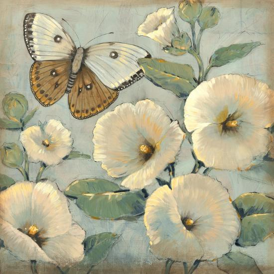 Butterfly and Hollyhocks II-Tim O'toole-Art Print
