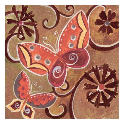Butterfly Bustle Rust-Anne Ormsby-Art Print