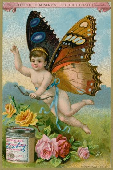 Butterfly Cherub with Roses--Giclee Print