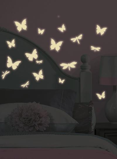 Butterfly & Dragonfly Glow in the Dark Wall Decals--Wall Decal