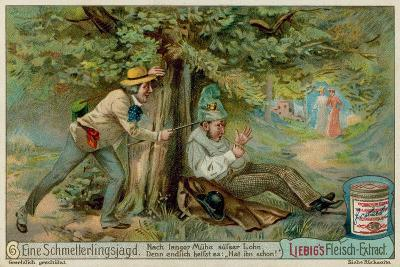 Butterfly Hunting and a Sleeper--Giclee Print