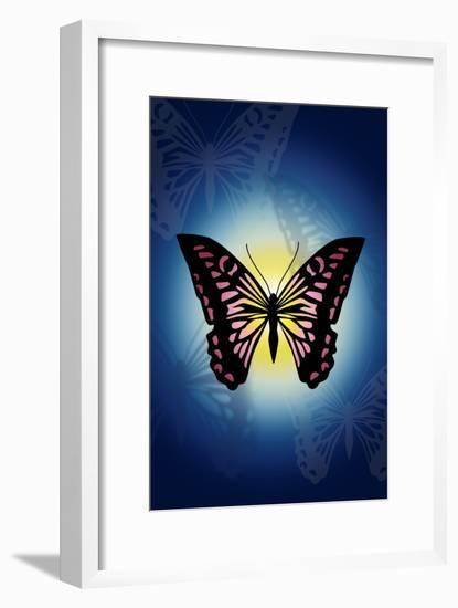 Butterfly in Blue Shadow-Ikuko Kowada-Framed Giclee Print