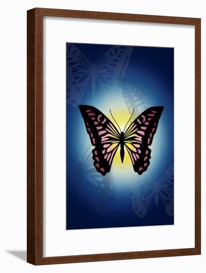 Butterfly in Blue Shadow-Ikuko Kowada-Framed Giclee Print