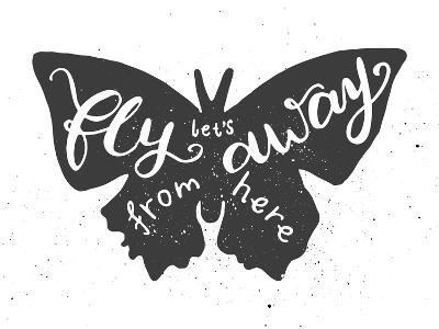Butterfly Lettering Poster-zapolzun-Art Print