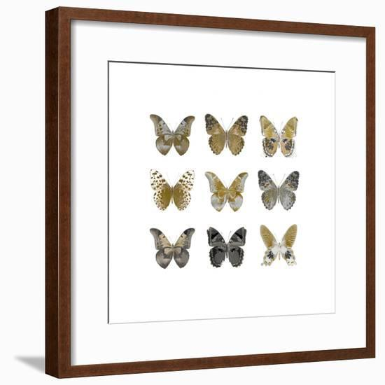 Butterfly Study in Gold I-Julia Bosco-Framed Giclee Print