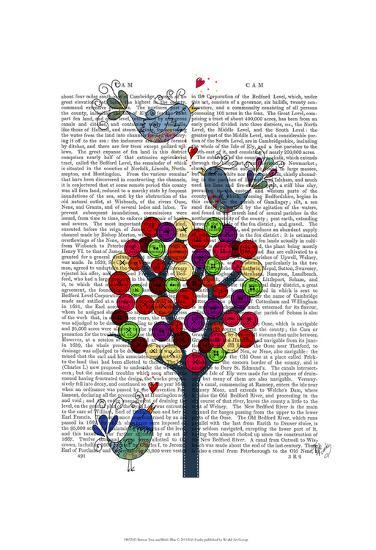 Button Tree and Birds Blue-Fab Funky-Art Print