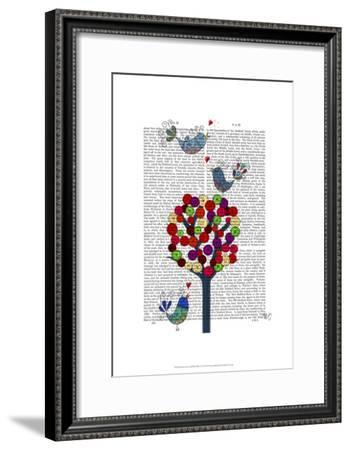 Button Tree and Birds Blue-Fab Funky-Framed Art Print