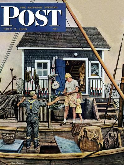 """""""Buying Lobsters,"""" Saturday Evening Post Cover, July 2, 1949-Stevan Dohanos-Giclee Print"""