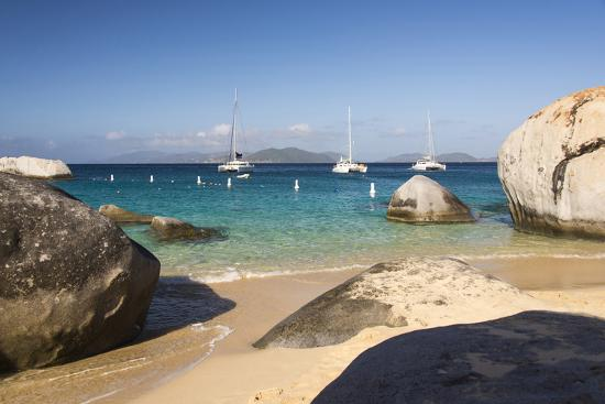 Bvi, Virgin Gorda, the Baths NP, Coastal Beach and Sail