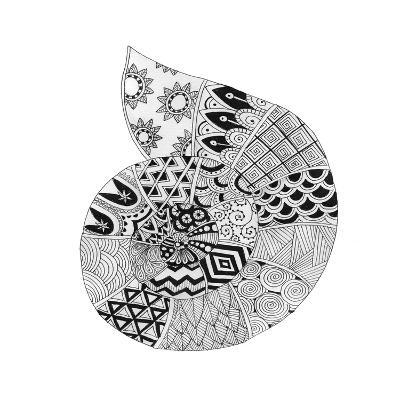 BW Decorated Nautilus-Pam Varacek-Art Print