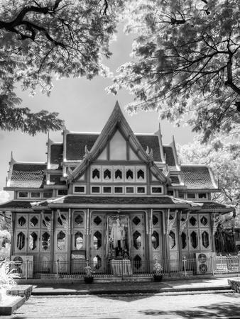 BW Infrared Photo Hua Hin Train Station Thailand-Nelson Charette-Photographic Print