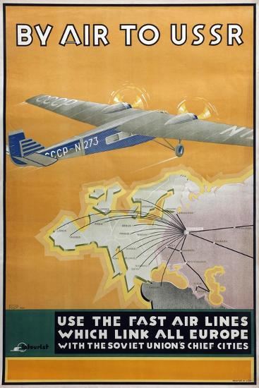 By Air to USSR (Poster of the Intourist Compan), 1934-Konstantin Bor-Ramensky-Giclee Print