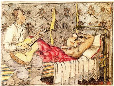 By Guitar Sound, 1921-Boris Michaylovich Kustodiev-Giclee Print