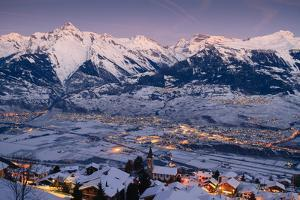 Evening Falls over the Swiss Alps by By Pinnati Photography