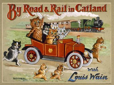 By Road and Rail in Catland, 20Th-Louis Wain-Giclee Print