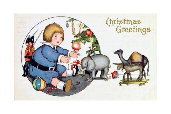 By the Christmas Tree with Toys, Victorian Christmas Postcard--Giclee Print