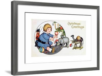 By the Christmas Tree with Toys, Victorian Christmas Postcard--Framed Giclee Print