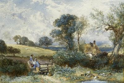 By the Duck Pond-Myles Birket Foster-Giclee Print