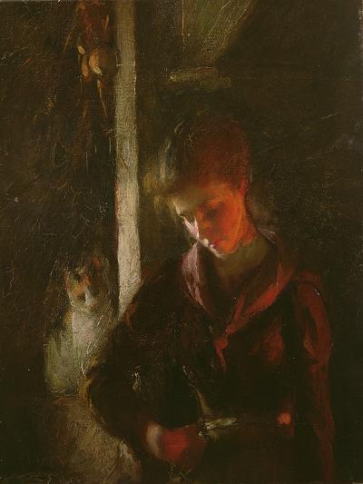 By the Fireside-Frank Bramley-Giclee Print