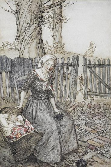 Bye, Baby Bunting.' Mother With Her Baby in a Cot. Father Going Hunting in the Background-Arthur Rackham-Giclee Print