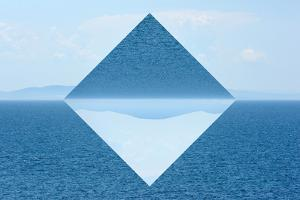 Summer View of the Sea and Mountain Range - Geometric Reflections Effect by byrdyak