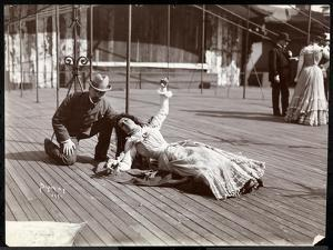 An Actress in Costume Rehearsing on the Roof of What Is Probably the New York Theatre, New York,… by Byron Company