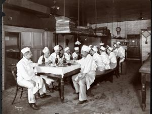 Chefs Eating Lunch at Sherry's Restaurant, New York, 1902 by Byron Company