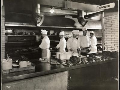 Cooks at the Broiler in the Kitchen of the Hotel Commodore, 1919 by Byron Company
