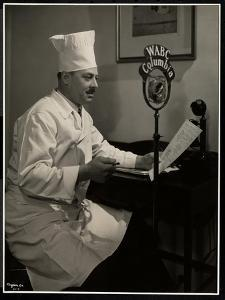 Portrait of Chef Maurice Hervieux at the Microphone at the Hotel Commodore, 1930 by Byron Company