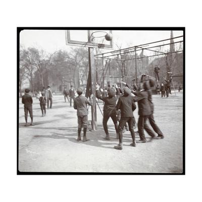 View of Boys Playing Basketball on a Court at Tompkins Square Park on Arbor Day, New York, 1904