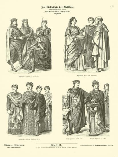 Byzantine Costumes, First Half of 6th Century--Giclee Print