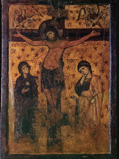 Byzantine icon of the Crucifixion. Artist: Unknown-Unknown-Giclee Print