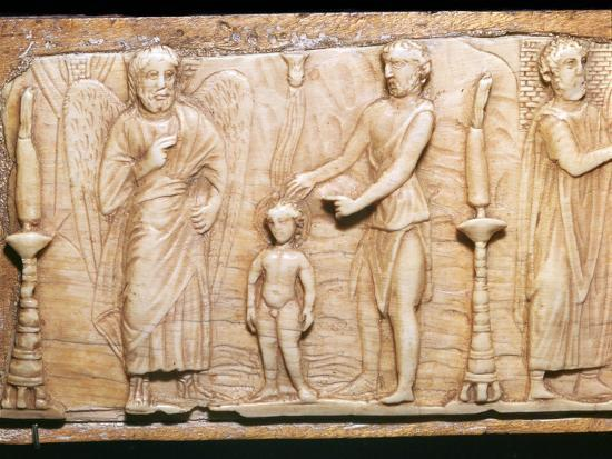 Byzantine ivory panel showing Christ's baptism, 5th century-Unknown-Giclee Print
