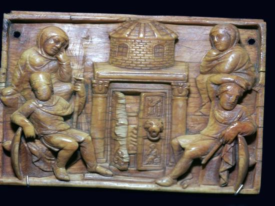 Byzantine ivory panel showing the tomb of Jesus on Easter morning, 5th century-Unknown-Giclee Print