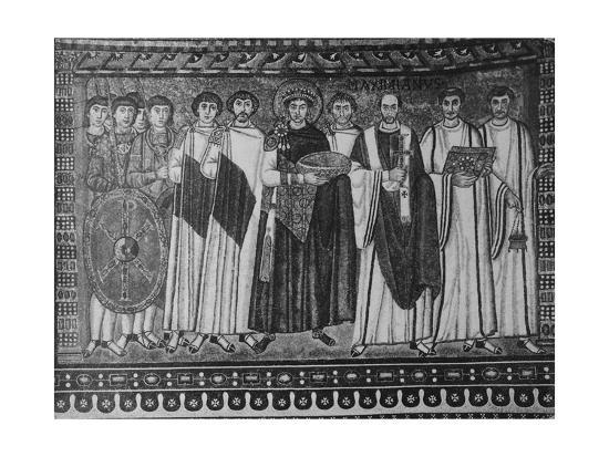 Byzantine Mosaic of Emperor Justinian and His Retinue--Giclee Print