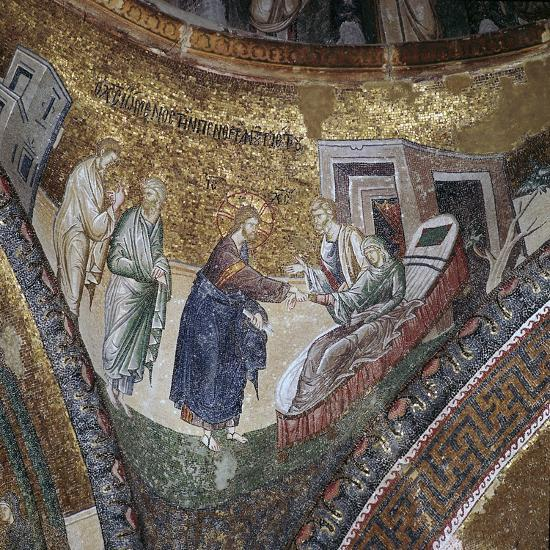 Byzantine mosaic of the rising of Peter's wife's mother, 14th century. Artist: Unknown-Unknown-Giclee Print