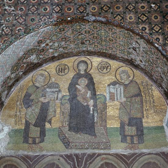 Byzantine mosaic of the Virgin with Justinian and Constantine. Artist: Unknown-Unknown-Giclee Print