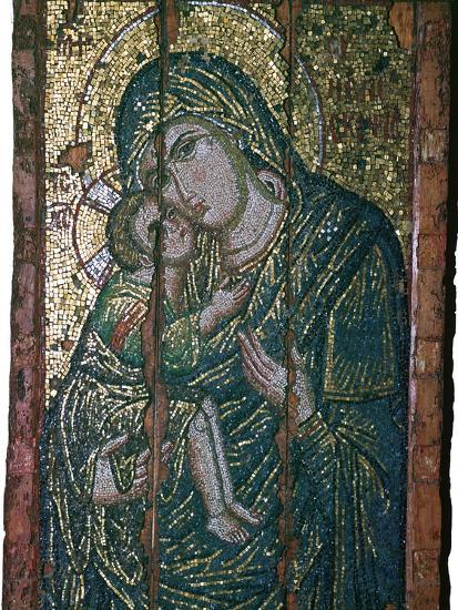 Byzantine mosaic of Virgin and Child, 14th century. Artist: Unknown-Unknown-Giclee Print