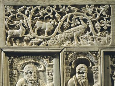 Animals, Vegetable Sprays and the Evangelists, Detail From Frame of the Chair of Bishop Maximian