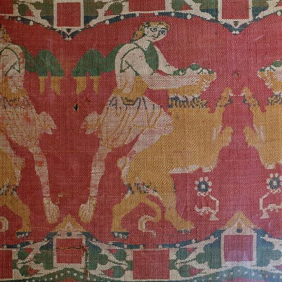 Byzantine silk with a motif of a hero and lion. Artist: Unknown-Unknown-Giclee Print