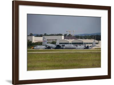 C-130J Super Hercules Taxiing at Ramstein Air Base, Germany-Stocktrek Images-Framed Photographic Print