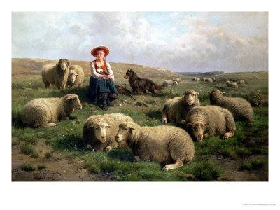 Shepherdess with Sheep in a Landscape