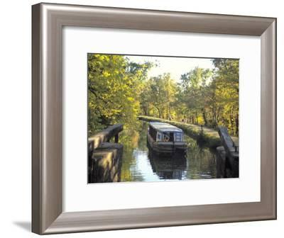 C and O Canal and Towpath with Barge and Hikers-Richard Nowitz-Framed Photographic Print