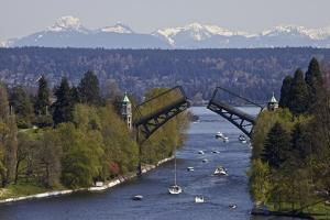 Montlake Bridge and Cascade Mountains by C. Chase Taylor