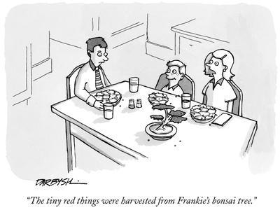 """""""The tiny red things were harvested from Frankie's bonsai tree."""" - New Yorker Cartoon"""