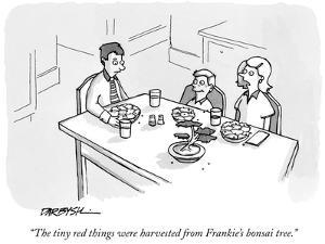 """The tiny red things were harvested from Frankie's bonsai tree."" - New Yorker Cartoon by C. Covert Darbyshire"